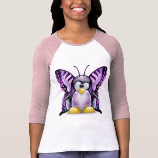 Papillon pourpre Tux (Linux Tux) T-shirt