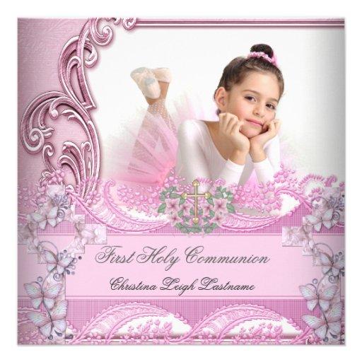 Papillon rose de photo de première sainte communio cartons d'invitation