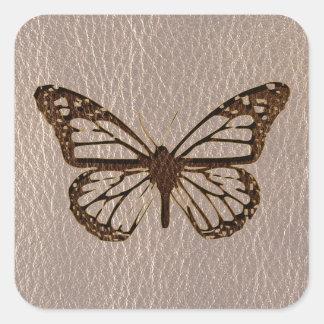 Papillon simili cuir mou stickers carrés