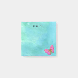 Papillon sur l'aquarelle bleue post-it®