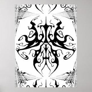 Papillon surréaliste de tatouage tribal posters