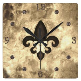 Papillon têtu Fleur d Lis de Brown de sépia du Horloge Carrée