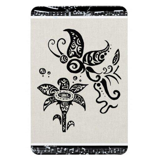 papillon tribal noir et blanc magnets en rectangle zazzle. Black Bedroom Furniture Sets. Home Design Ideas