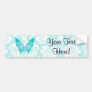 Papillon turquoise ; Motif de damassé Autocollant De Voiture