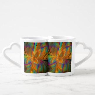 Papillon vibrant abstrait de fractale mug