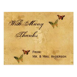 Papillon vintage de beige de damassé de Merci de Carte Postale