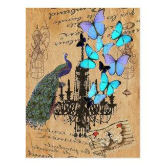 papillon vintage moderne de bleu de paon de lustre carte postale