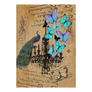 papillon vintage moderne de bleu de paon de lustre poster