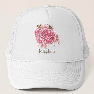 Papillon vintage personnalisé de rose de rose casquette
