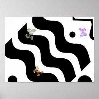 Papillons abstraits sur l'affiche de blanc de noir poster