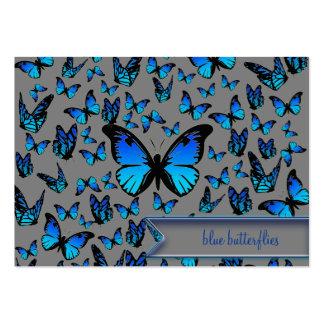 papillons bleus carte de visite grand format