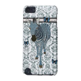 Papillons bleus de Boho et caisse grunge de damass Coque iPod Touch 5G