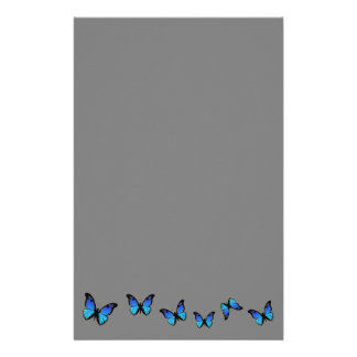 papillons bleus sur l'arrière - plan argenté papeterie