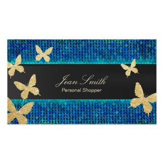 Papillons chics Teal d'or et client personnel bleu Carte De Visite Standard