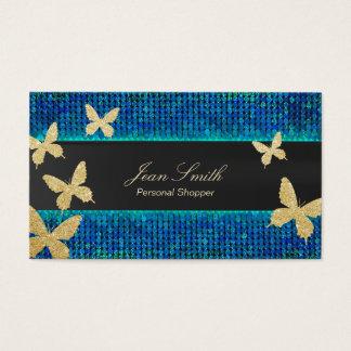 Papillons chics Teal d'or et client personnel bleu Cartes De Visite