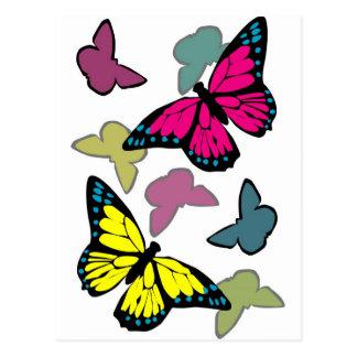 Papillons colorés lumineux cartes postales