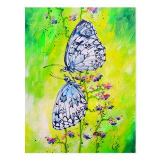 Papillons dans l'amour cartes postales
