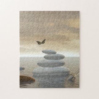Papillons en vol dans un paysage de zen puzzle