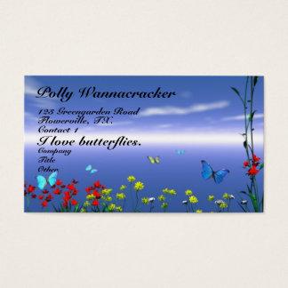 Papillons et fleurs cartes de visite