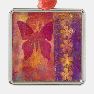 Papillons et fleurs ornement carré argenté