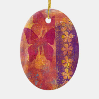 Papillons et fleurs ornement ovale en céramique
