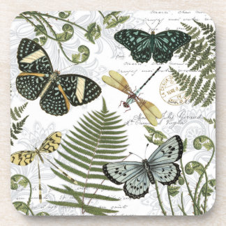 papillons et libellules vintages modernes sous-bocks