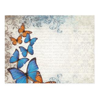 Papillons floraux bleus carte postale
