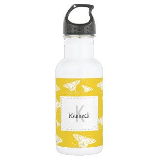 Papillons graphiques blancs sur le jaune lumineux bouteille d'eau en acier inoxydable