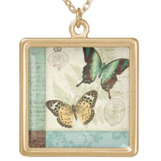 Papillons jumeaux pendentif carré