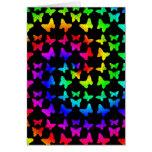 Papillons lumineux de remous d'arc-en-ciel carte de vœux