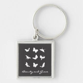 Papillons noirs et blancs porte-clé carré argenté