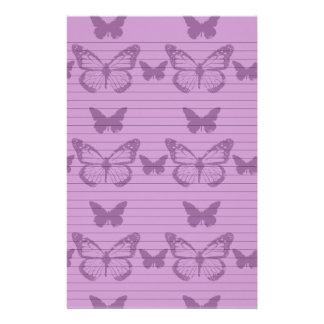 Papillons pourpres papier à lettre customisable