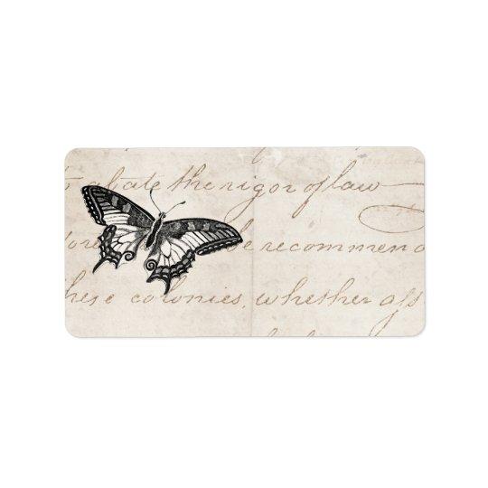 Papillons vintages de l'illustration 1800's de étiquette d'adresse