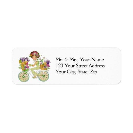 Pâques fleurit la bicyclette avec des chiots de étiquette d'adresse retour