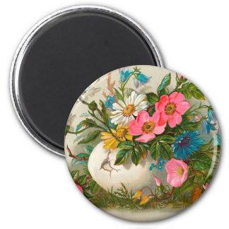 Pâques fleurit l'art floral vintage magnet rond 8 cm