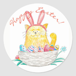 Pâques Kitty //Joyeuses Pâques Sticker Rond