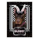 Pâques - un certain lapin vous aime - dobermann cartes de vœux