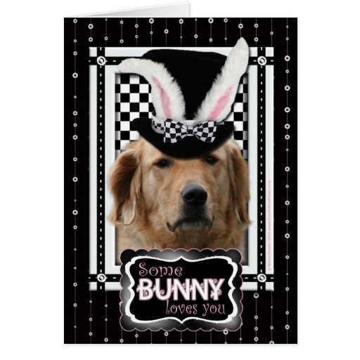 Pâques - un certain lapin vous aime - golden retri carte de vœux