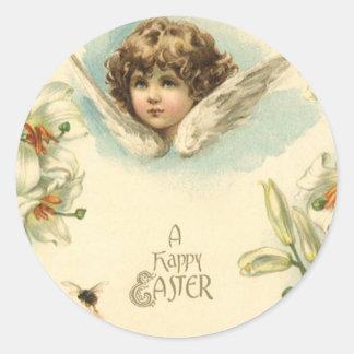 Pâques vintage, ange victorien avec des fleurs de sticker rond