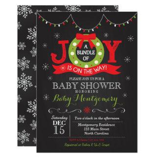 Paquet de Noël d'invitation de baby shower de joie Carton D'invitation 12,7 Cm X 17,78 Cm