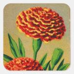 Paquet français vintage de graine de fleur sticker carré