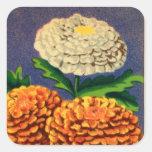 Paquet français vintage de graine de fleur de sticker carré