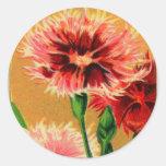 Paquet vintage de graine de fleur d'oeillet de la sticker rond