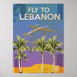 Par avion à l'affiche vintage de voyage du Liban Posters