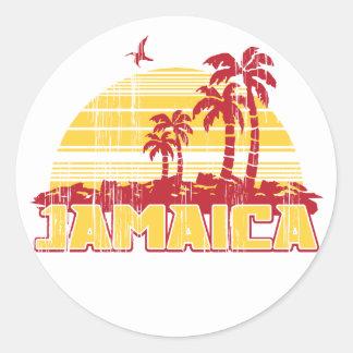 Paradis de la Jamaïque Autocollant Rond