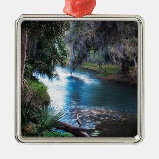 Paradis de rivière de paume de la Floride Ornement Carré Argenté