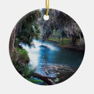 Paradis de rivière de paume de la Floride Ornement Rond En Céramique