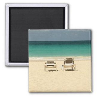 Paradis dominicain tropical de plage magnet carré