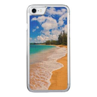 Paradis tropical de plage, Hawaï Coque Iphone 7 En Bois