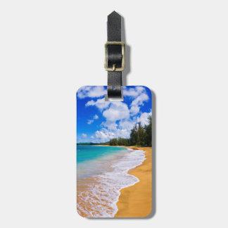 Paradis tropical de plage, Hawaï Étiquette À Bagage